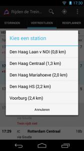 Screenshot van Rijden de Treinen Android-app