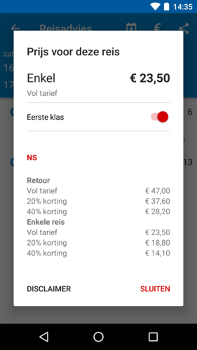 Prijsinformatie in de app